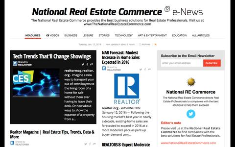 Screenshot of Press Page nationalrealestatecommerce.com - National Real Estate Commerce ® e-News - captured Jan. 13, 2016