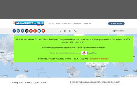 Screenshot of Contact Page aluminiosdelsurhn.com - Contact – Puertas para Baño   Soluciones para la Nueva Arquitectura de Hogar y Oficina! - captured Oct. 8, 2017