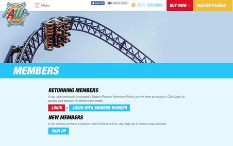 Screenshot of Login Page adventureworld.net.au - Members » - captured Nov. 20, 2016