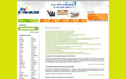 Screenshot of FAQ Page nopan-ink.com - Foire aux questions de Nopan ink : Cartouches d'encre génériques et marques à prix discount - captured Oct. 7, 2014