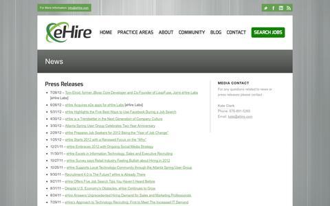Screenshot of Press Page ehire.com - eHire |   News - captured Sept. 30, 2014