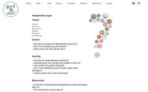 Screenshot of FAQ Page bordenmeer.nl - Veelgestelde vragen - Bord&Meer.nl - captured Oct. 10, 2017