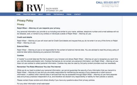 Screenshot of Privacy Page wiserlaw.com - Privacy Policy | Personal Injury Disability Employment Attorney | Lake Oswego, OR - captured Nov. 4, 2014