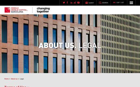 Screenshot of Terms Page mobileworldcapital.com - Legal - Mobile World Capital Barcelona - captured Jan. 19, 2016