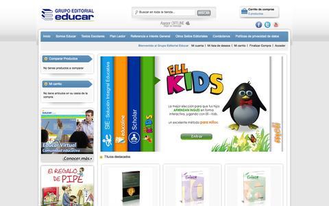 Screenshot of Home Page educar.com.co - Grupo Editorial Educar - captured Oct. 1, 2014