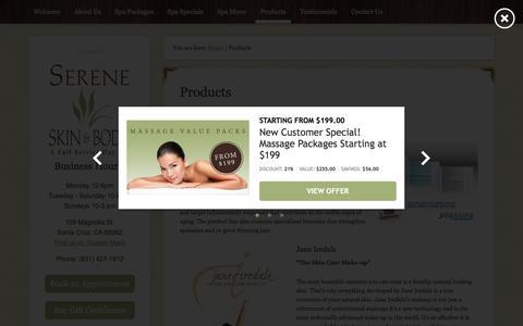 Screenshot of Products Page sereneskincare.com - Jan Marini | Jane Iredale | Laurel Organics | La Isha - captured Nov. 18, 2016