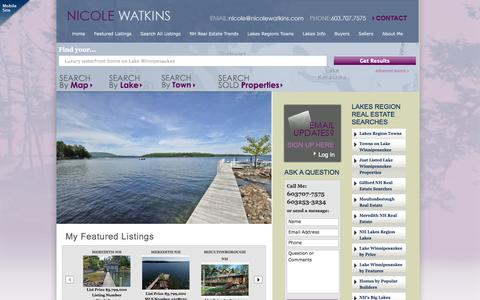 Screenshot of Home Page nicolewatkins.com - Lake Winnipesaukee Real Estate | Lakes Region Real Estate - captured Oct. 1, 2014