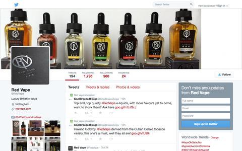 Screenshot of Twitter Page twitter.com - Red Vape (@RedVape) | Twitter - captured Oct. 26, 2014