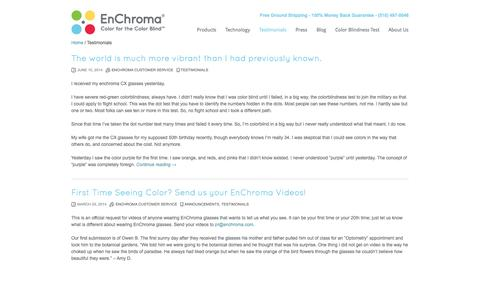 Screenshot of Testimonials Page enchroma.com - Testimonials | EnChroma - captured Sept. 16, 2014