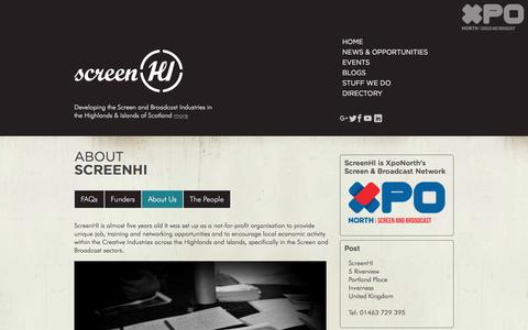 Screenshot of About Page screenhi.co.uk - About ScreenHI - captured Sept. 20, 2018