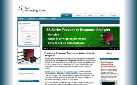 Screenshot of Home Page coretechgroup.com - Core Technology Group - Frequency Response Analyzers - Test and Measurement - coretechgroup - captured Oct. 3, 2014