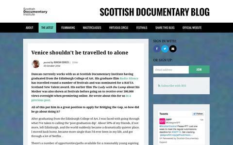 Screenshot of Blog scottishdocinstitute.com - Scottish Documentary Blog by the Scottish Documentary Institute - captured Oct. 7, 2014