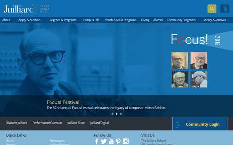 Screenshot of Home Page juilliard.edu - Home | The Juilliard School - captured Jan. 22, 2016