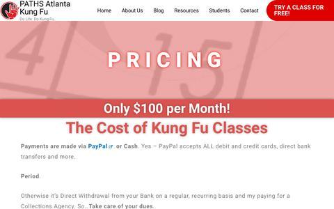 Screenshot of Pricing Page pathsatlanta.org - Pricing   PATHS Atlanta Kung Fu - captured Feb. 6, 2020