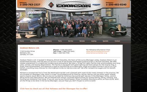 Screenshot of Locations Page cooksonmotors.com - Cookson Motors - Used International Trucks  Kelowna, Penticton - captured Oct. 3, 2014