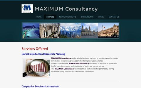 Screenshot of Services Page maximumconsultancy.com - Maximum Consultancy - SERVICES - Maximum Consultancy - captured Sept. 30, 2014