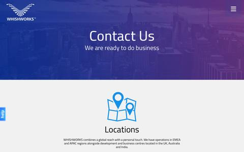 Screenshot of Locations Page whishworks.com - Contact Us - WHISHWORKS - captured Sept. 18, 2016