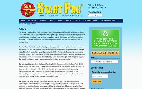 Screenshot of About Page startpac.com - Start Pac Battery Packs, Mining Equipment Starting Unit, StartPac | Start Pac - captured Sept. 30, 2014