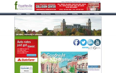 Screenshot of Home Page fayettevillear.com - Fayetteville, AR Chamber of Commerce - captured Oct. 5, 2014