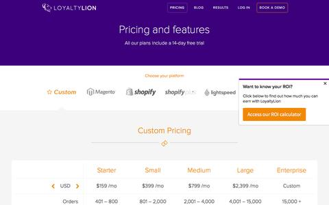 Screenshot of Pricing Page loyaltylion.com - Pricing and Features   LoyaltyLion - captured July 3, 2016