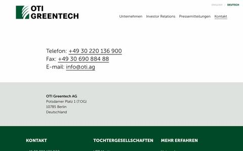 Screenshot of Contact Page oti.ag - Kontakt - OTI Greentech-Konzern - captured Dec. 6, 2016