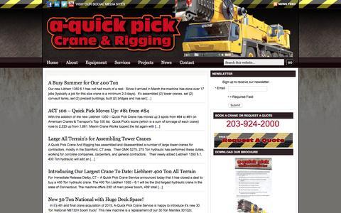 Screenshot of Press Page aquickpickcrane.com - News   - captured Nov. 7, 2016