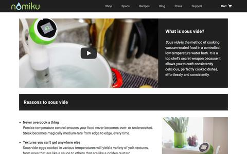Screenshot of nomiku.com - What is sous vide? | Nomiku - captured June 23, 2016
