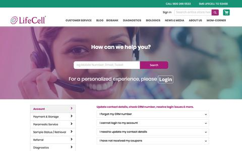 Screenshot of Support Page lifecell.in - Helpdesk - captured Jan. 21, 2020