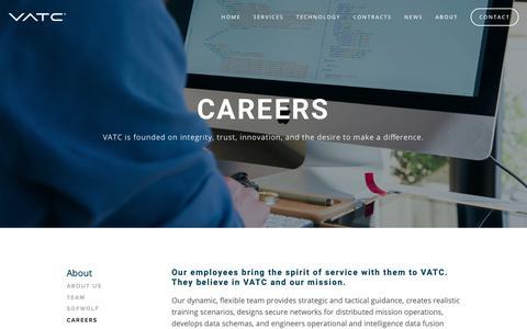 Screenshot of Jobs Page vatcinc.com - Careers | VATC - captured May 17, 2019