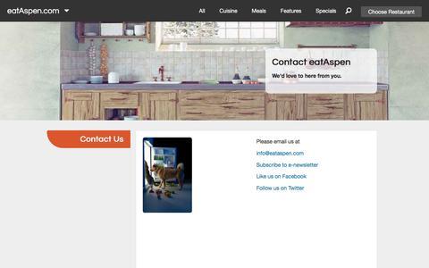 Screenshot of Contact Page eataspen.com - Contact Us | eatAspen - captured Oct. 22, 2016