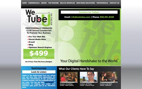 Screenshot of Testimonials Page wetubeu.com - WeTubeU . Reel Clips for Real People - captured Oct. 6, 2014