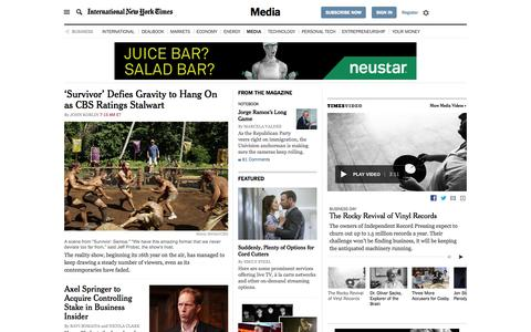 Screenshot of Press Page nytimes.com - Business News - Media and Advertising - The New York Times - captured Sept. 30, 2015