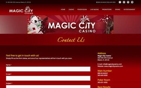 Screenshot of Contact Page magiccitycasino.com - Magic City Casino - Contact Us - captured Nov. 18, 2015