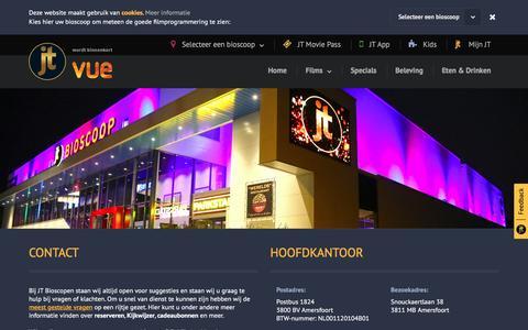 Screenshot of Contact Page jt.nl - JT Bioscopen - captured Feb. 2, 2016
