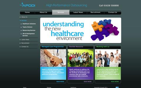 Screenshot of Services Page apodi.co.uk - Services | Apodi - captured Oct. 4, 2014