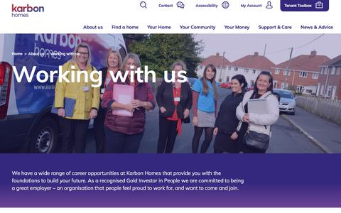 Screenshot of Jobs Page karbonhomes.co.uk - Working with us - captured Sept. 20, 2018