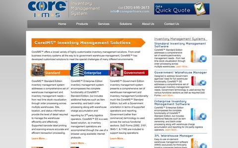 Screenshot of Products Page coreims.com - Inventory Management Programs & Barcode Inventory Software - CoreIMS™ - captured Oct. 10, 2014