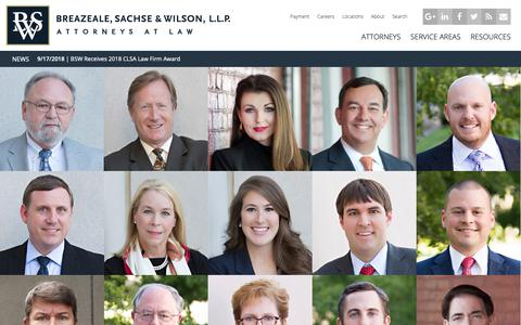 Screenshot of Home Page bswllp.com - Breazeale, Sachse & Wilson - Attorneys at Law | Baton Rouge & New Orleans, Louisiana Law Firm |  Homepage - captured Oct. 6, 2018