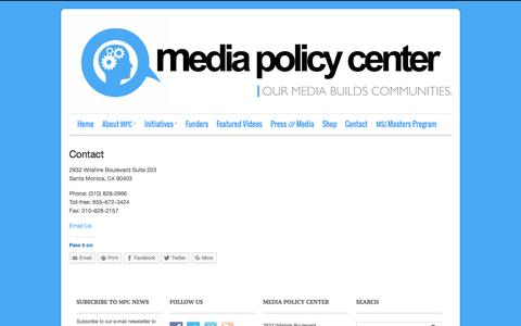 Screenshot of Contact Page mediapolicycenter.org - Contact - Media Policy Center - captured Oct. 27, 2014