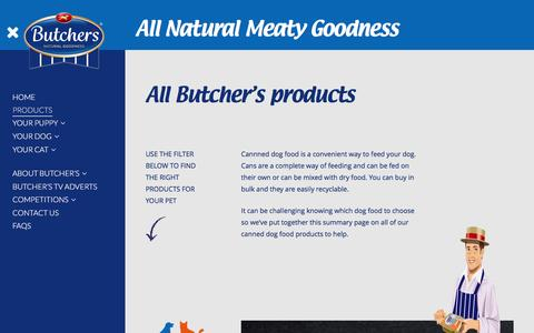 Screenshot of Products Page butcherspetcare.co.uk - Products | Butchers Pet Care - captured July 31, 2016