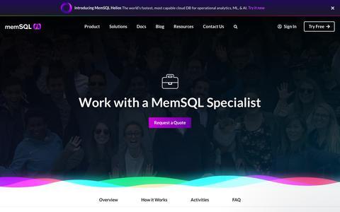Screenshot of Services Page memsql.com - The MemSQL Team says… - captured Oct. 3, 2019