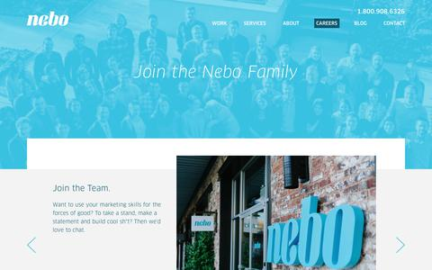 Screenshot of Jobs Page neboagency.com - Nebo Careers: Let's Take Over the World Together - captured April 17, 2018