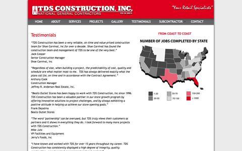 Screenshot of Testimonials Page tdsconstruction.com - Testimonials | TDS Construction - captured Oct. 7, 2014