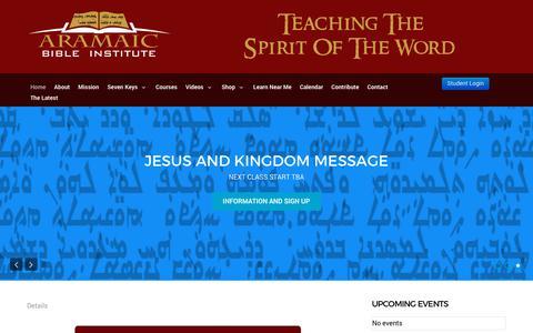 Screenshot of Home Page aramaicbibleinstitute.com - Aramaic Bible Institute - captured July 30, 2018