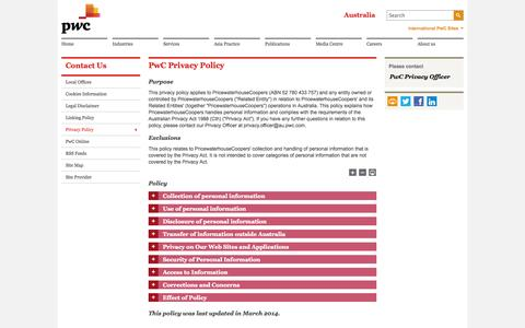 Screenshot of Privacy Page pwc.com.au - PwC Australia - CONTACT US - PwC privacy policy - captured Oct. 31, 2014