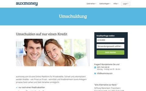 Umschuldung | Zinsen sparen mit AUXMONEY.com