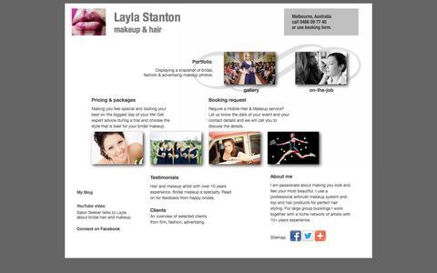 Screenshot of Home Page laylastanton.com - Layla Stanton, makeup artist and hair stylist - Melbourne, Australia - wedding, bridal, photoshoot, fashion, editorial - captured Oct. 2, 2014