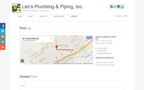 Screenshot of Privacy Page Contact Page lppramirez.com - Contact Leo's Plumbing & Piping Inc - captured Oct. 22, 2014