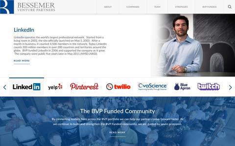 Screenshot of Home Page bvp.com - Bessemer Venture Partners - captured Dec. 1, 2015