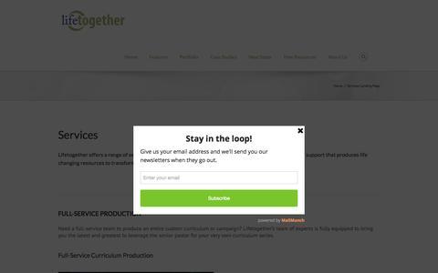 Screenshot of Services Page lifetogether.com - Services Landing Page   Lifetogether Campaigns - captured Sept. 27, 2015